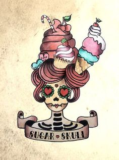 Funny tattoo flash. Sugar skull design with hair made from sweets.