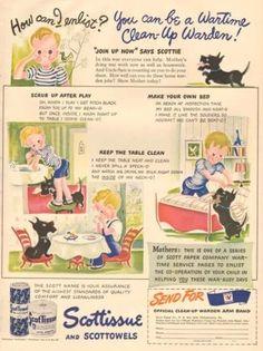 1940s vintage Scotty Dog SCOTTISH Terrier Toilet Paper WWII Poem CLEAN Warden AD