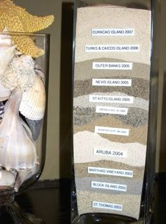 The most creative way to preserve vacation memories I have ever seen! ~sand in vase from different beaches