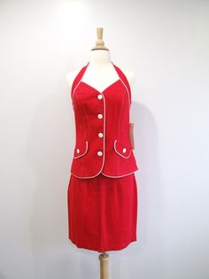 1980s Halter Dress Vintage 80s Two Piece Red Suit by RedsThreadsVintage, $32.00