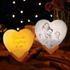 Photo Moon Lamp Custom 3D Photo Light Lamp Moon Heart Shape For Father - 16 Colors Change BY Remote / 20CM (7.9 INCH) (Best Seller)