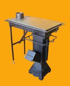 rocket stove and grill Rocket Stove Design, Diy Rocket Stove, Rocket Heater, Home Rocket, Rocket Stoves, Wood Burner Stove, Wood Pellet Stoves, Camping Cooker, Camping Stove