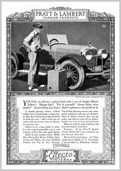 1922  'Youth, an old car, a paint brush and a can of Effecto Yellow'  Painted by Adolph Treidler - for  Pratt & Lambert 'Effecto Auto Finishes'