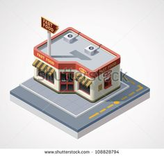 Vector isometric fast food cafe