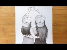 Best friend Drawing\\How to draw best friend with pencil sketch Art Drawings Sketches Simple, Girl Drawing Sketches, Sad Drawings, Cute Sketches, Girly Drawings, Cool Girl Drawings, Pencil Sketches Easy, Beautiful Sketches, Drawing Faces