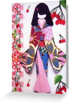 Traditional Japanese hand crafted paper doll using handmade washi paper or origami paper. Vibrant floral colors make these dolls a collectors treasure. Doll Crafts, Paper Crafts, Paper Doll Craft, Japanese Paper Art, Asian Crafts, Asian Quilts, Papier Diy, Paper Dolls Printable, Paper Artwork