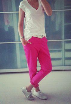 Pink chino pants, Superga sneakers