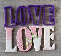 LOVE set of 4 cookie cutters by LubimovaCookieCutter on Etsy, $20.00