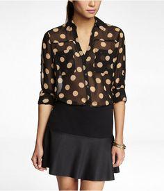 Polka Dot Convertible Sleeve Portofino Shirt Neutral