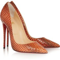 Christian Louboutin So Kate 120 watersnake pumps (€1.115) ❤ liked on Polyvore featuring shoes, pumps, heels, christian louboutin, sapatos, pointed toe shoes, high heeled footwear, leather shoes, christian louboutin pumps and leather pointed toe pumps