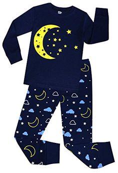 a3f28e6454 sheliy-Girls Little Girls Moon and Stars Pajamas Children Cotton Christmas  PJs Set Toddler Sleepwear