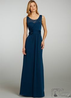 Alvina Valenta Bridesmaid Crinkle Chiffon Modified A-line Gown V-back Straps Ruching Flower Natural Waist 9330 Bridesmaid Dresses 2014, Wedding Bridesmaids, Prom Dresses, Bridesmaid Ideas, Long Dresses, Pretty Dresses, Beautiful Dresses, Formal Dresses, Couture Wedding Gowns