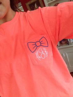 Comfort Colors Monogram Pocket Tee with Bow Design