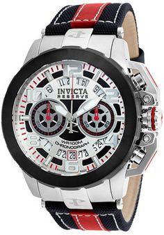 68ad281bfb5 Invicta Men s Reserve Chrono Black and Red Nylon and Leather Silver-Tone  Dial
