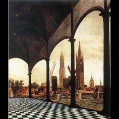 Daniel Vosmaer, Vista di Delft da una loggia immaginaria, 1663 Delft, Stedelijk Museum het Prinsenhof Collection of the Cultural Heritage Agency of the Netherlands