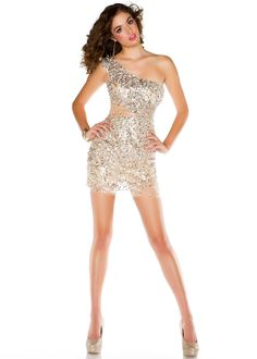 Mac Duggal 85032B - Silver/Nude Sequin One Shoulder Prom Dresses Online
