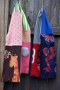 Recycle old T-shirts into scarves - just a photo no instructions
