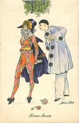 Full Sized Image: Pierrot right & Pierrette left stand under mistletoe, two roses on ground & another in her hand Vintage Clown, Vintage Costumes, Vintage Halloween, Vintage Art, Vintage Christmas, Pierrot Clown, Paper Dolls Clothing, Send In The Clowns, People Art