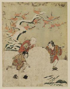Three Boys with a Giant Snowball  雪まろげ Japanese Edo period about 1767–68 (Meiwa 4–5) Artist Suzuki Harunobu (Japanese, 1725–1770)