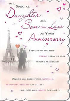 Daughter and Son-in-Law Anniversary Card (Daughter and Son-in-Law Anniversary Card, Daughter and Son-in-Law Wedding Anniversary Card) First Wedding Anniversary Quotes, Anniversary Verses, Anniversary Wishes For Friends, Anniversary Cards For Husband, Anniversary Message, Anniversary Greetings, Birthday Daughter In Law, Birthday Verses For Cards, Greeting Cards