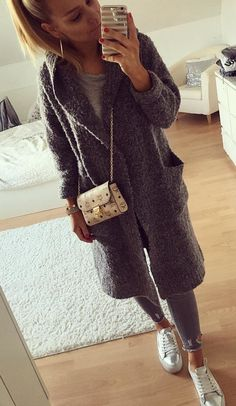 #fall #outfits women's long gray hooded cardigan