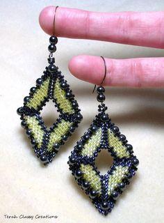 Beadwoven Earrings Geometric Black & by TerahClassyCreations