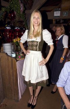 Claudia Schiffer in a vintage dirndl at Oktoberfest 2008