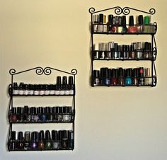 Spice Rack for Nail Polish...On the Wall and Out of the Way! ~ The Pinning Life of a Navy Wife