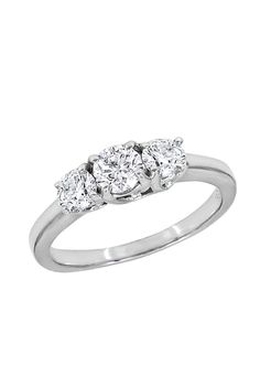 Past, present, future - forever. Effy White Gold 3-Stone Diamond Engagement Ring