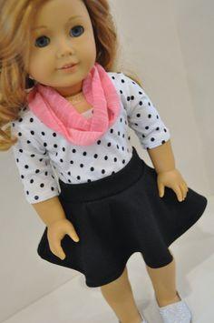 Black Skater Skirt with Polka Dot Shirt and by CircleCSewing