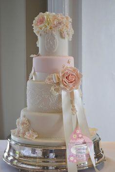 brush embroidery rose cake wedding - Google Search