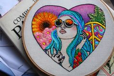 Hand Embroidered Tattooed Hippy Chick Wall Art Embroidery Hoop Art. Tattoo Inspired Textile Fibre Art. Modern Embroidery / Needlework. OOAK. by ShinyFabulousDarling on Etsy https://www.etsy.com/listing/204579099/hand-embroidered-tattooed-hippy-chick