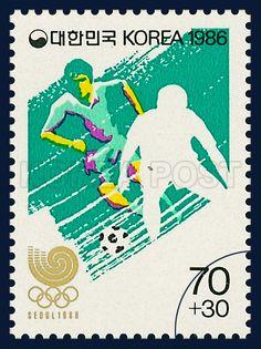 POSTAGE STAMPS OF SEOUL OLYMPICS, 1988, Soccer, sports, white, green, 1986 03,25, 88 서울올림픽, 1986년 03월 25일, 1415, 축구, postage 우표