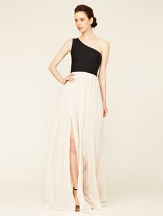 Alexis One Shoulder Long Flared Dress