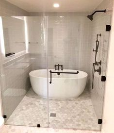 Tub Inside Shower (Design Ideas) Walk-in shower with tub inside and bronze hardware Douche Design, Bathroom Tub Shower, Shower Rooms, Bathroom Mirrors, Bath Tubs, Bathroom Faucets, Dream Bathrooms, Master Bathrooms, Master Bathroom Designs