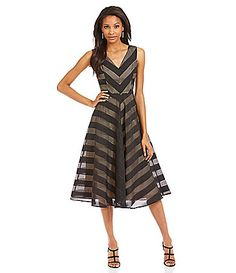 b6e75640ac9 Maggy London VNeck Fit and Flare Dress  Dillards Metallic Cocktail Dresses