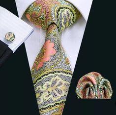 Wang Men`s Tie Brown Novelty Silk Tie Gravata Hanky Cufflink Set For Men Formal Wedding Party Groom Business Pocket Square Folds, Pocket Squares, Brooks Brothers Ties, Is 61, Mens Silk Ties, Cufflink Set, Selling On Pinterest, Tie Set, Ties