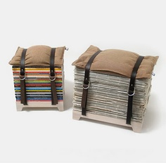 a fun diy idea! magazine storage stool, make with belts? Recycled Magazines, Old Magazines, Recycled Books, Recycled Jewelry, Diy Furniture, Furniture Design, Recycled Furniture, Chair Design, Modern Furniture