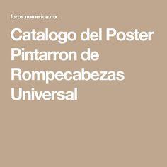 Catalogo del Poster Pintarron de Rompecabezas Universal