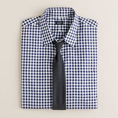 navy gingham dress shirt and black tie