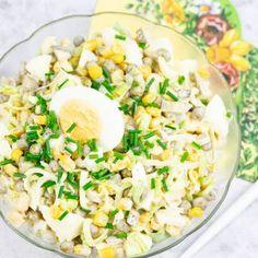Sałatka z pora i jajek   AniaGotuje.pl Pasta Salad, Cobb Salad, Fried Rice, Potato Salad, Fries, Recipies, Potatoes, Cooking, Ethnic Recipes
