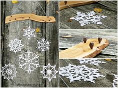 Etsy の Holiday decor snowflakes mobile crochet by Woodstorming