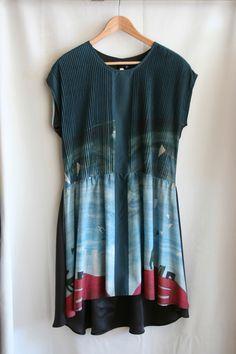 silk panel print dress