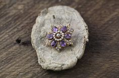 14k Yellow Gold Pin/Brooch Pendant with Amethyst, Pearls and a Diamond