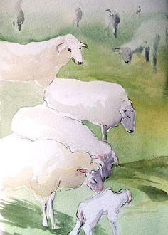 foggy sheep, illustration, kidlitart, farm, art, watercolor