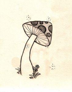 mushroom doodle by Znnai on DeviantArt Trippy Drawings, Doodle Drawings, Art Drawings Sketches, Easy Drawings, Tattoo Sketches, Mushroom Paint, Mushroom Drawing, Trippy Mushrooms, Graffiti Doodles