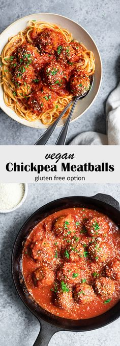These vegan chickpea meatballs are a delicious and healthy comfort food meal! They're easy to make and can be enjoyed with sauce, pasta, & many other ways! Chickpea Recipes, Vegan Recipes, Cooking Recipes, Cleaning Recipes, Bread Recipes, Cooking Tips, Vegan Spaghetti, Vegan Pasta, Vegan Food