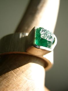 Rough - Raw- Emerald Ring on Birch Bark Band - Sterling and Pure Silver on Etsy, $185.00