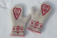 Hand Embroidered Heart Design Felted Wool Scandinavian Style OOAK Woman's Mittens