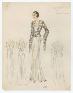 Bergdorf Goodman sketches: Pamela 1933, Pauline 1933, Payne 1934, Philippe et gaston 1932, Poiret 1932, Premet 1932-1933. 1932-1944. The Metropolitan Museum of Art, New York. Costume Institute #dressedup  #outonthetown | Fashion makes stands out in a crowd.
